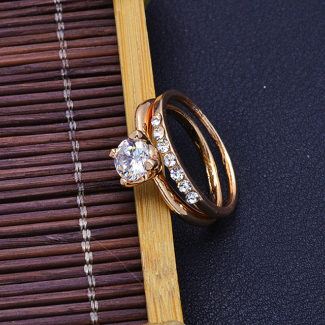 Fashion jewelry New gold color CZ zircon finger ring set wedding gift 5