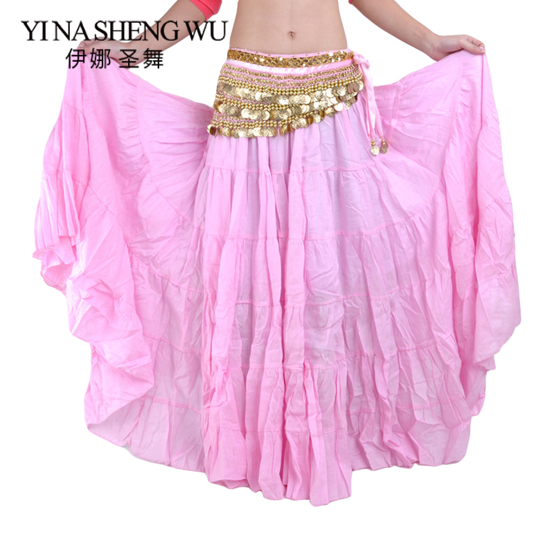High Quality Women Belly Dancing Skirts Cheap Belly Dancing Costume Gypsy Skirts 13 Colors Available Training Dress(No Belt)