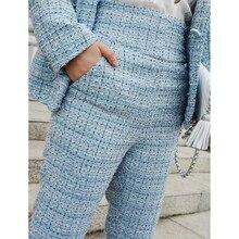 Y286 2019 新ファッション春夏レトロカジュアルなズボン女性のパンツレディースブルーチェック柄のアンクル長パンツハイウエスト脚パンツ