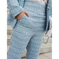 2019 New Fashion Spring Summer Retro Casual Trousers Women's Pants Ladies Blue Plaid Ankle Length Pant High Waist Leg Pants Y286