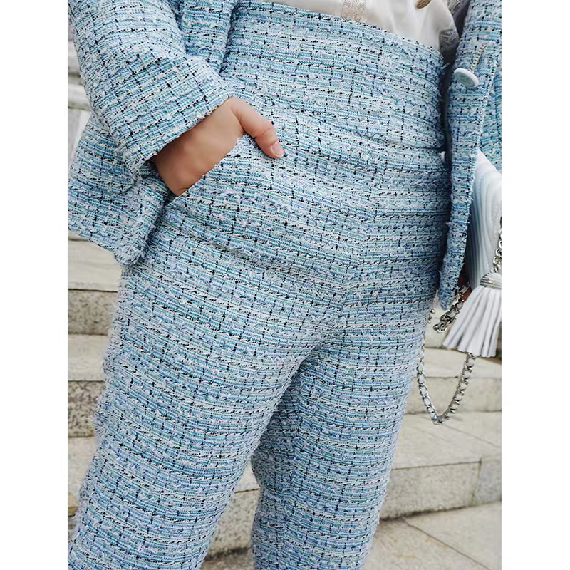 2019 neue Mode Frühjahr Sommer Retro Casual Hosen frauen Hosen Damen Blau Plaid Ankle Länge Hose Hohe Taille Bein hosen Y286-in Hosen & Caprihosen aus Damenbekleidung bei  Gruppe 1