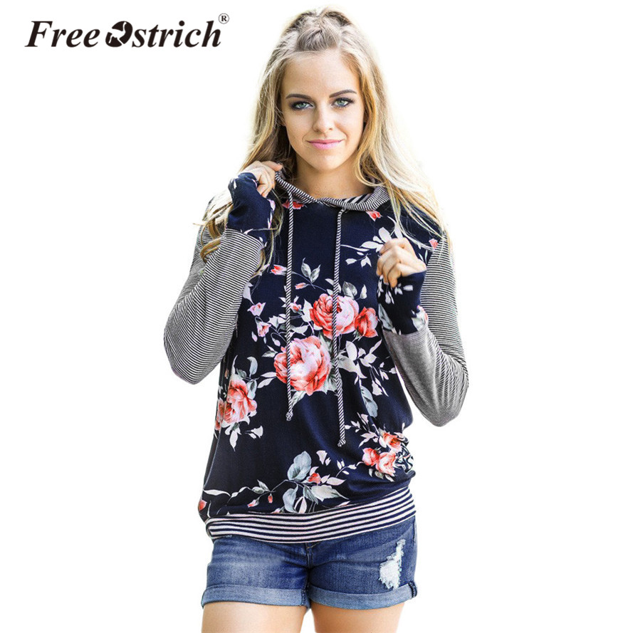 Free Ostrich Sweatshirt With Hat Women 2019 Floral Striped Plus Size Long Sleeve Shirt Loose Tops Hoodie Print Pullovers L2535