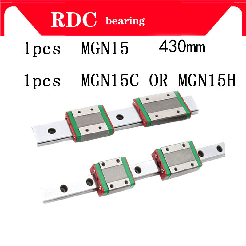 1pcs 15mm Linear Guide MGN15 L= 430mm High quality linear rail way + MGN15C or MGN15H Long linear carriage for CNC XYZ Axis 1pcs mgn15 l1000mm linear rail 1pcs mgn15c carriage