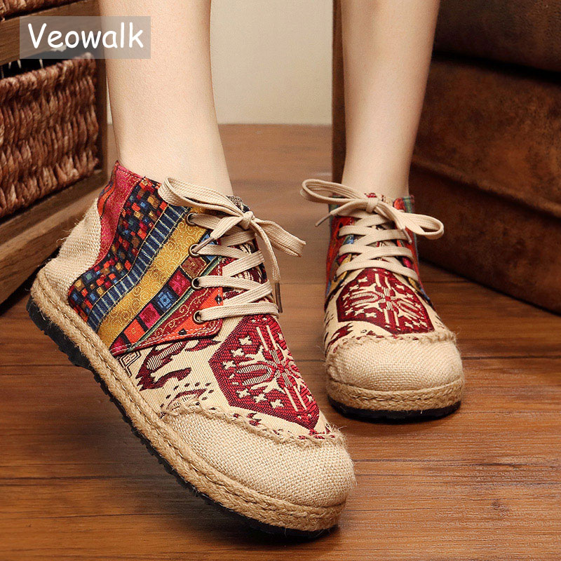 Veowalk High Top Cotton Embroidered Women Casual Linen Flat Shoes Handmade Lace up Thick Hemp Soled Canvas Shoes Zapato Mujer цены