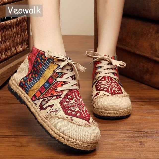 Veowalk عالية أعلى القطن المطرزة النساء حذاء مسطح الكتان عادي اليدوية الدانتيل يصل سميكة القنب سوليد أحذية رياضية من قماش القنب Zapato Mujer
