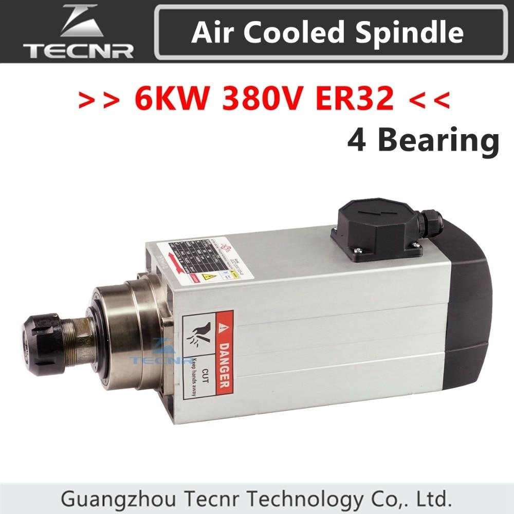 TECNR 6kw 380v موتور اسپیندل خنک شده موتور ER32 4pcs یاطاقان سرامیکی بلبرینگ برای دستگاه فرز CNC GDZ120 * 103-6