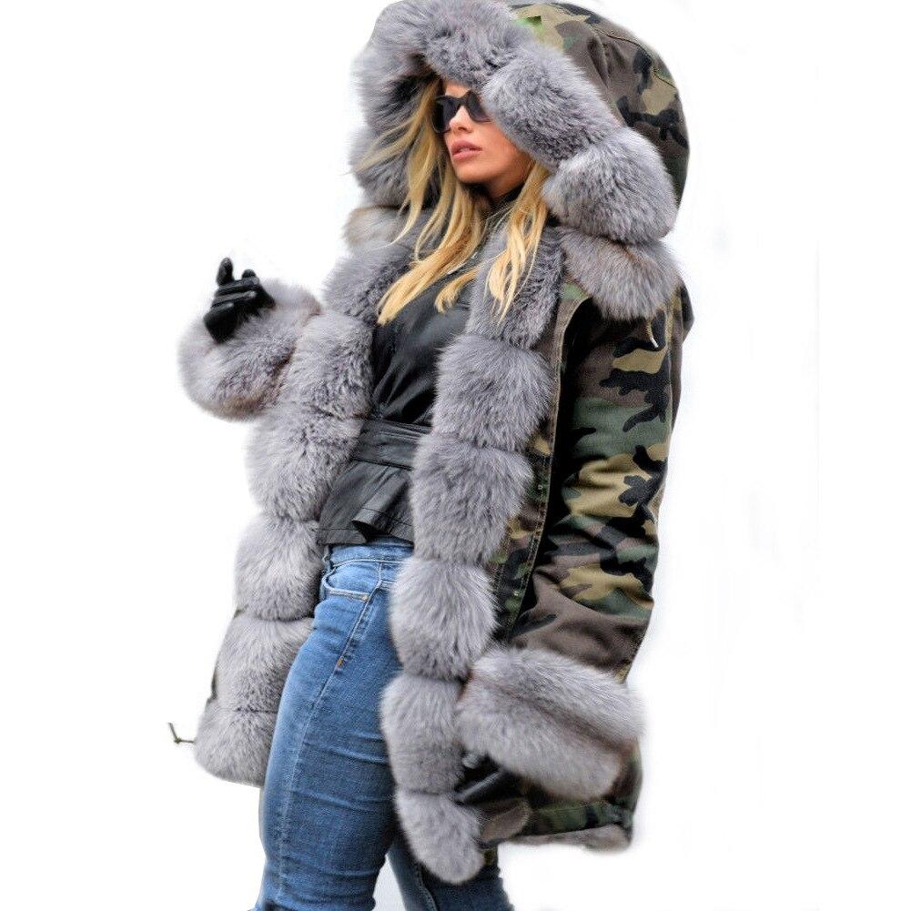 امرأة التمويه ستر كبيرة فو الراكون الفراء طوق معطف مقنع أبلى انفصال وهمية الأرنب الفراء بطانة الشتاء سترة-في سترات فرائية مقلنسة من ملابس نسائية على  مجموعة 3