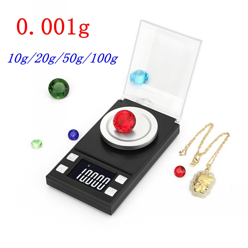 0.001g LCD Digital Scale 10g 20g 50g 100g Milligram Gram Pocket Scale High Precision Jewelry Weight Medical Lab Measuring Tools