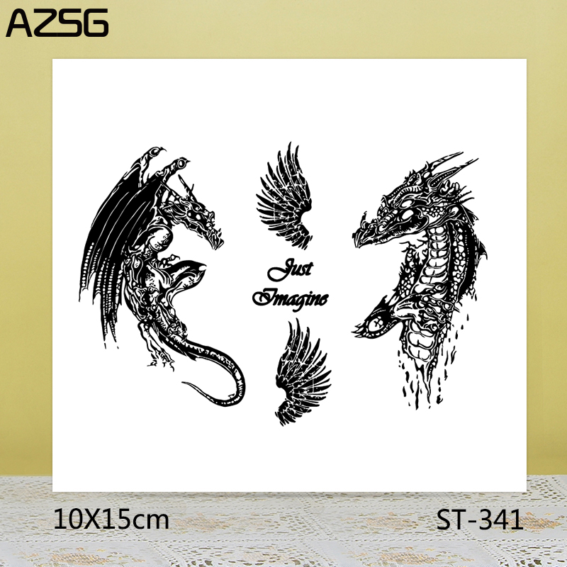AZSG Myth Ferocious Dragon Wings Clear Stamps Seals For DIY Scrapbooking Card Making Album Decorative Silicone Stamp Crafts in Stamps from Home Garden