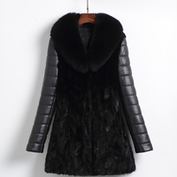 Genuine Leather Jacket Mink Fur Sheepskin Coat Fox Fur Collar Real Fur Coat Winter Jacket Women Clothes 2018 Down Coat ZT1421