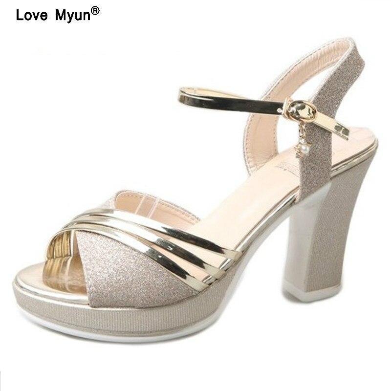 ab8c079bd925 Platform Sandals Women Fashion 2018 Women Summer Shoes Gold Silver Extreme High  Heel Women Sandals 10 CM sdf