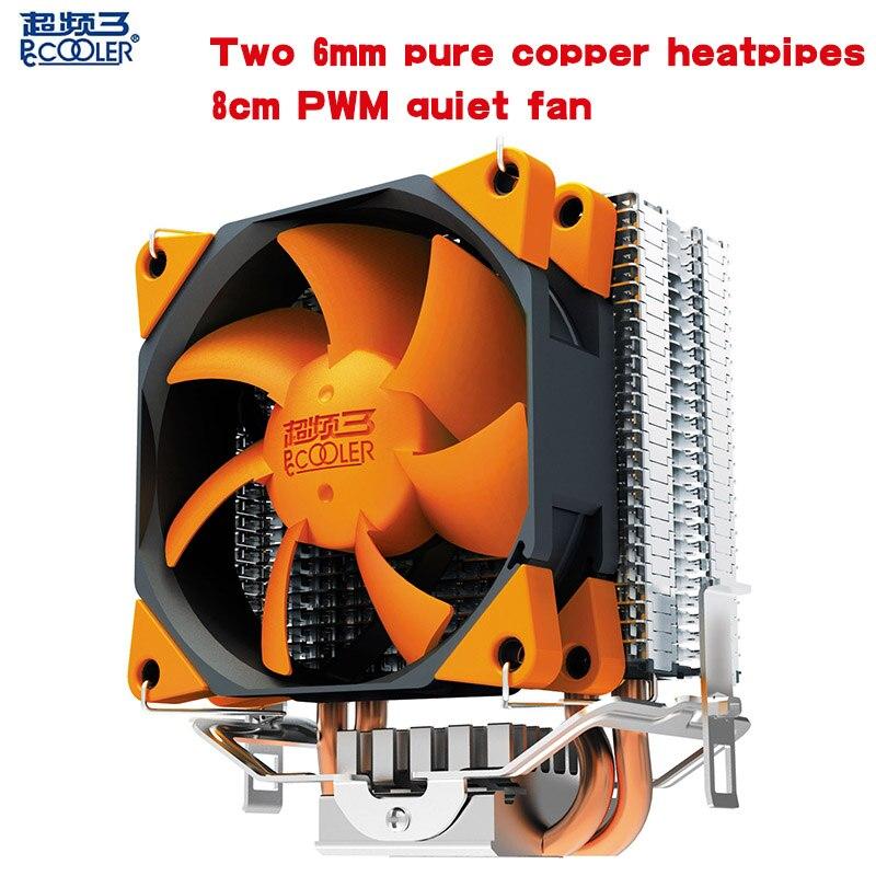 PCcooler CPU cooler 2 heatpipes 4pin 8cm PWM quiet fan computer PC AMD Intel 775 1151 1150 1155 1156 cpu cooling radiator fan
