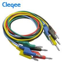 Cleqee P1036 1 Unidades 5 unids 1 M 4mm Banana a Banana Plug Cable de Plomo de Prueba de Silicona Suave para multímetro 5 Colores