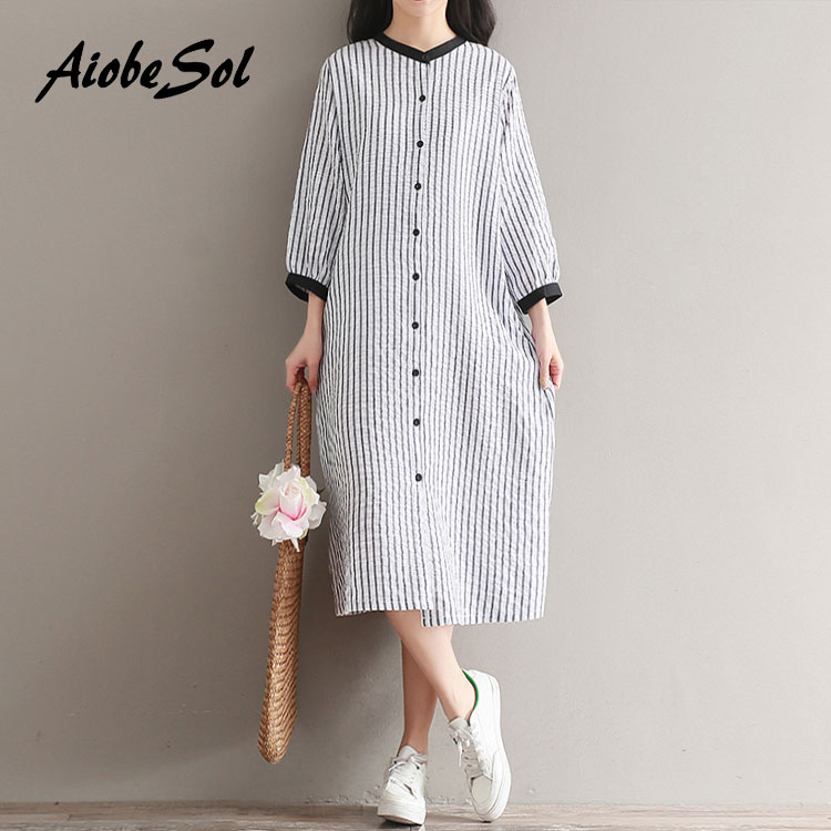 AiobeSol Mori Gril Store Cotton Linen Dress 2017 Summer New Women Preppy Loose Striped O-neck Three Quarter Sleeve Single Breasted Maxi Long Dress
