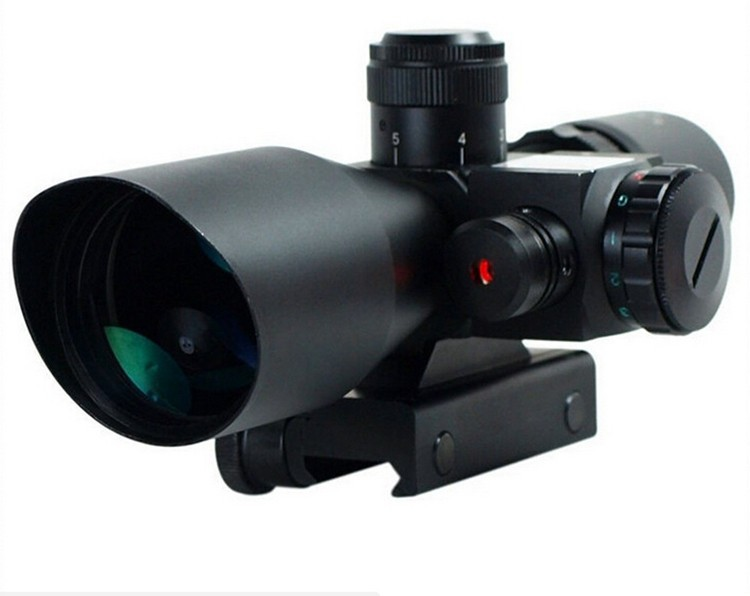 2.5-10X40 Tactical Rifle Scope with Red Laser 4