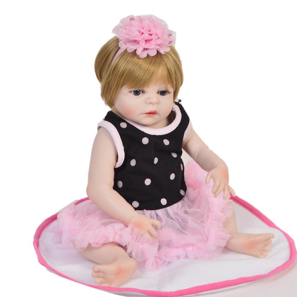 Nuevo diseño 48 cm muñeca de vinilo Reborn Menina completa de silicona resistente al agua 19 pulgadas Reborn baby Doll pelo dorado para niños regalo de Cumpleaños-in Muñecas from Juguetes y pasatiempos    3