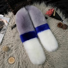 Autumn Winter Warm Faux Fur Scarf Contrast Colors Patchwork Soft And Comfortable Scarves For Women's Clothing Accessories