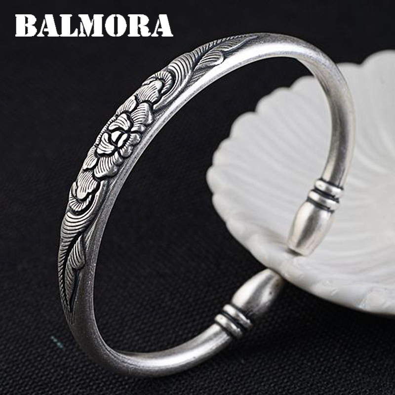 BALMORA 990 Pure Silver Peony Flower Vintage Bangles for Women Mother Lover Gift about 17cm Jewelry Accessories Esposas SZ0117