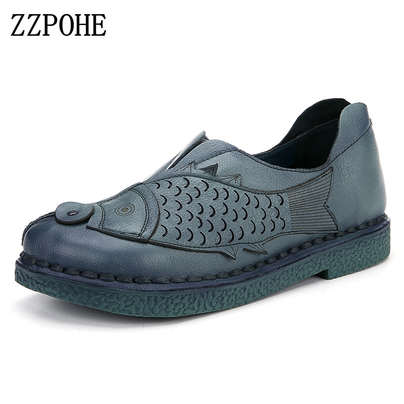 ZZPOHE Ladies shoes Soft and comfortable hand-sewn women shoes Leather casual middle-aged flat shoes Fashion mother work shoes