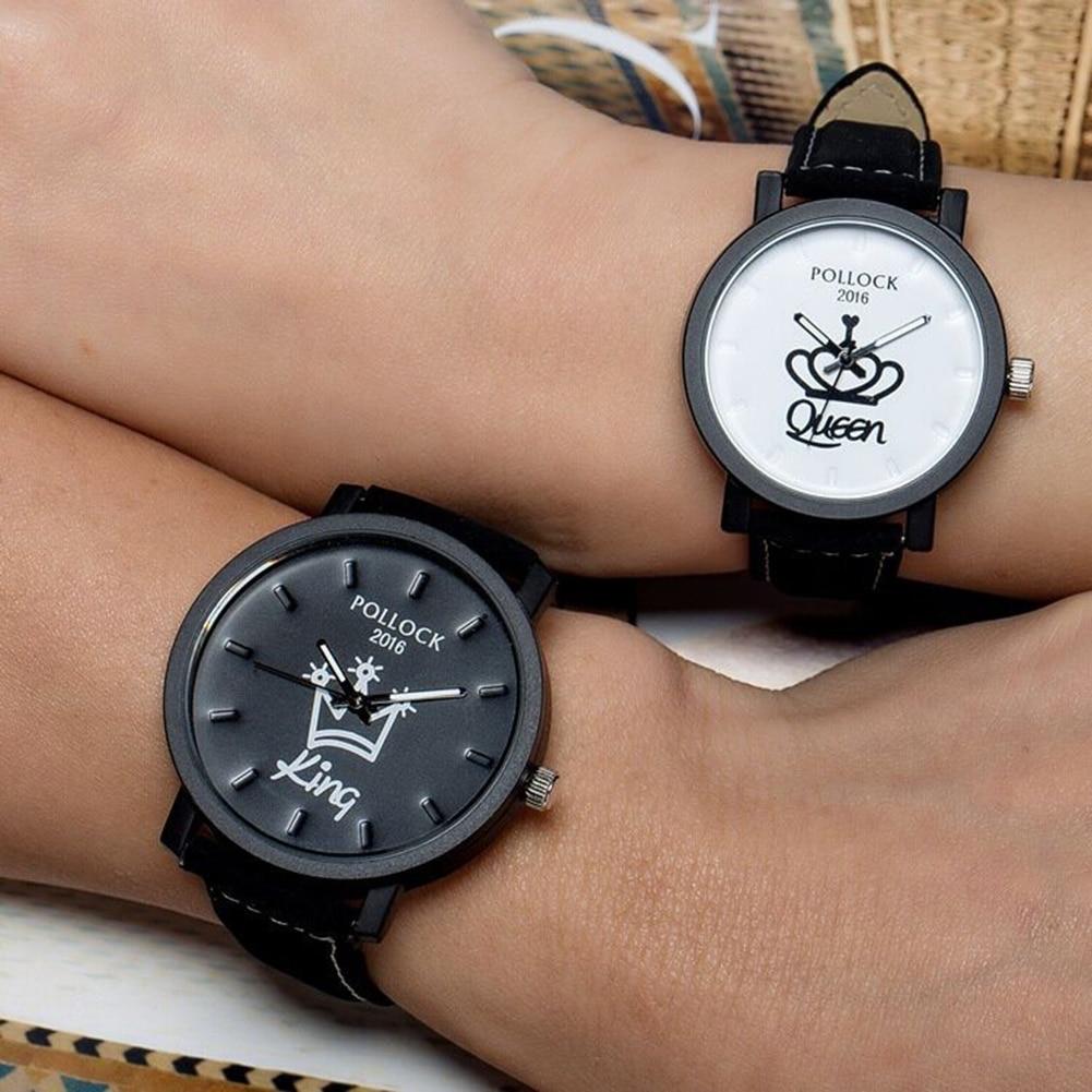 Newest Couple Queen King Crown Leather Strap Quartz Analog Wrist Watch Chronograph 2017 Men's Women's Wacthes