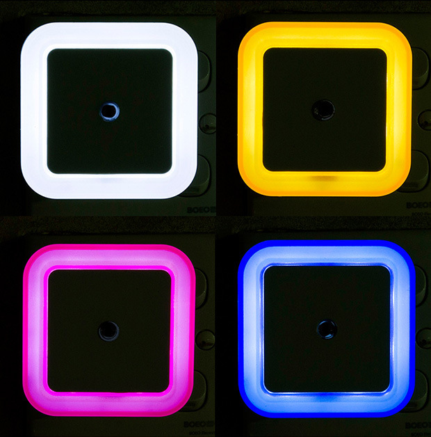 Czujnik światła nocna kontrola światła Mini ue wtyczka amerykańska nowość kwadratowa lampka do sypialni na romantyczne kolorowe światła