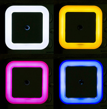 Veilleuse contrôlée par capteur Mini prise ue US, nouveauté, carré, lampe de chambre à coucher, lampes romantiques colorées