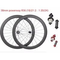 700c frete grátis estrada rodas de carbono 38x25mm sem câmara rodas 700c powerway r36 18/21 g3 bicicleta rodas estrada wheelste