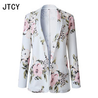 JTCY Elegant Floral Print Patchwork Casual Women Coat Notched Collar Pockets Autumn Ladies Suit Jacket Coat Women Jackets 2018