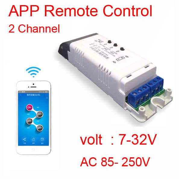WIFI التحكم 2CH الهاتف APP التحكم عن بعد واي فاي اللاسلكية التبديل المحرك تيار مستمر 12 فولت 24 فولت 110 فولت 220 فولت التيار المتناوب ل مصباح منزل الذكية أندرويد أبل