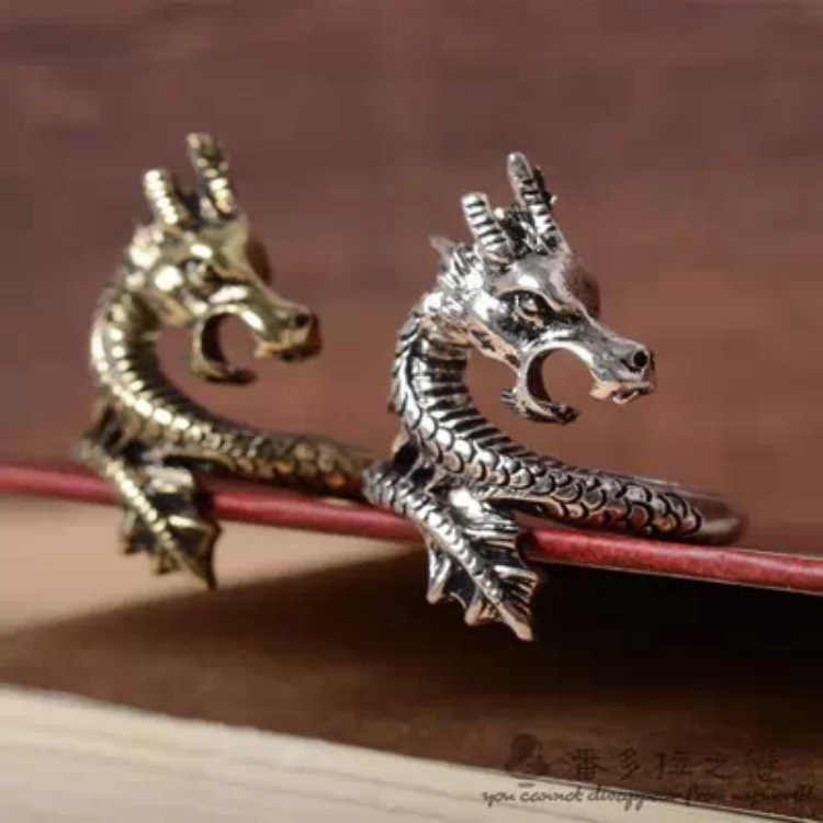 2019 New Arrival Charms Punk Fashion Exaggerated Animal Dragon Deer Rings for Men and Women Vintage Retro Dragon Ring Jewelry