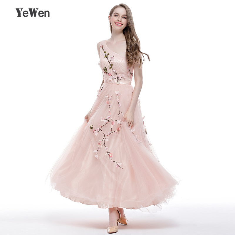 Flowers embroidery Tulle Prom Dresses One Shoulder Pink Ankle-Length Girl Party  Formal Evening Dresses Long 2018 Robe Soiree ef8c6aef380a