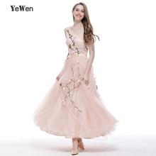 f65d2d472d8 Fleurs broderie Tulle robes de bal une épaule rose cheville longueur fille  fête formelle robes de soirée longue 2018 Robe de soi.