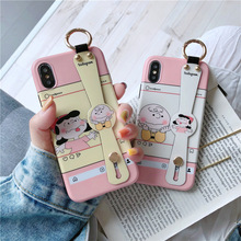 Luxury design Charlie Brown Lucy phone case for iphone 6 6splus xr x xsmax 7 8plus couple pink silicon soft wristband back cover