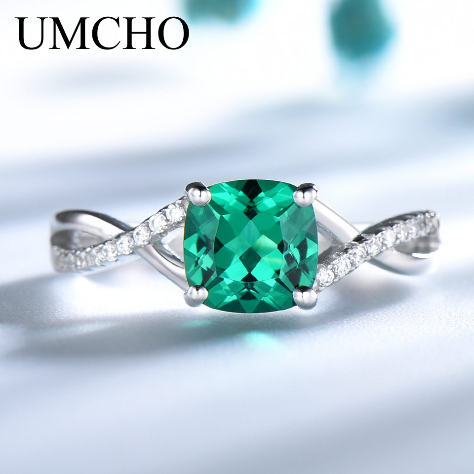 UMCHO Emerald Gemstone Rings For Women Solid 925 Sterling Silver Ring Silver Wedding Engagement Band Romantic Fine Jewelry Gift