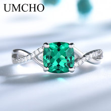 все цены на UMCHO Emerald Gemstone Rings for Women Solid 925 Sterling Silver Ring Silver Wedding Engagement Band Romantic Fine Jewelry Gift онлайн