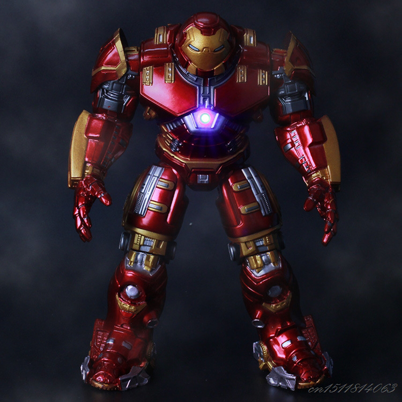 Avengers Iron Man Hulk Buster Armor Joints Movable Mark With LED Light PVC Action Figure Collection Model For Kids Toy 18cm
