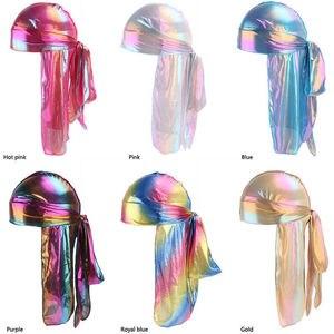 الرجال/النساء الحرير الليزر البوليستر باندانا قبعة Durag خرقة الذيل حك أغطية الرأس هدية
