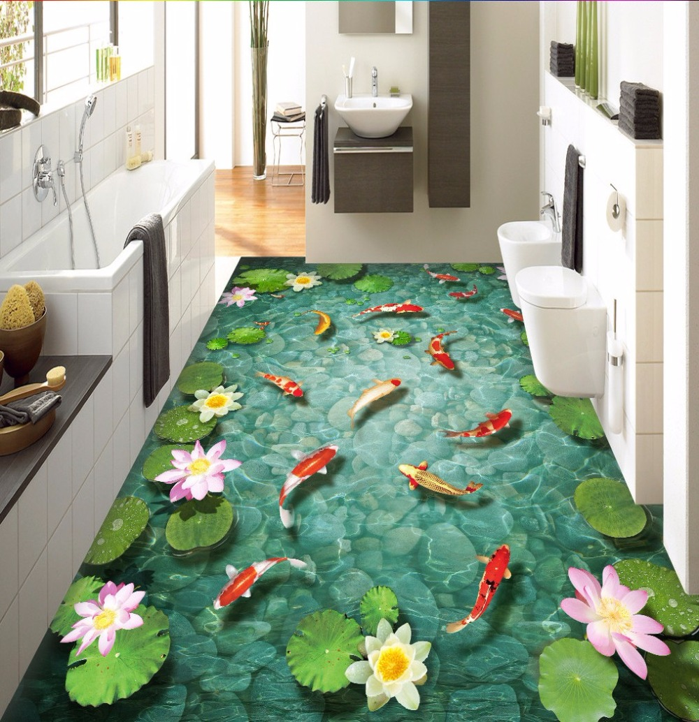 Free Shipping Chinese lotus carp floor 3D floor painting wear non-slip restaurant study living room bedroom wallpaper mural free shipping custom waterfalls lotus scenery floor wallpaper study office bathroom non slip wear floor wallpaper mural