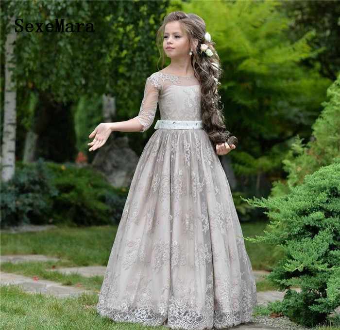 Lovely Grey Princess   Flower     Girls     Dresses   Lace Long Sleeves Sheer Neck Formal Baby   Girl   Birthday   Dress   Kids Formal Wear Any Size