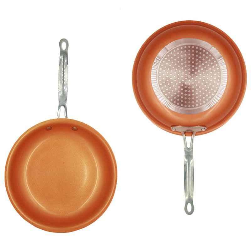 Poêle antiadhésive cuivre rouge poêle Induction poêle poêle casserole four allant au lave-vaisselle 8 pouces Anti-cuisson friture Pa