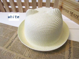 [DINGDNSHOW], модная соломенная шляпа, Летний стиль, для взрослых, украшение в виде ушей, прекрасная соломенная шляпа от солнца, одноцветная широкополая Панама для женщин - Цвет: white adult