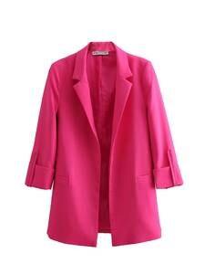 Notched Blazer Rose Red Elegant Femme Casaco Casual Fashion WOMAN Three-Quarter-Sleeve