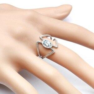 Image 5 - 宝石のバレエ 0.6Ct オーバル天然スカイブルートパーズ宝石女性のための指輪 925 スターリングシルバーファッションファインブレスレットジュエリー