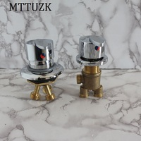MTTUZK Square Bathtub Hot Cold Faucet Four Porcelain Cylindrical Sitting Reciprocating Bathtub Faucet Accessories Mixing Valve
