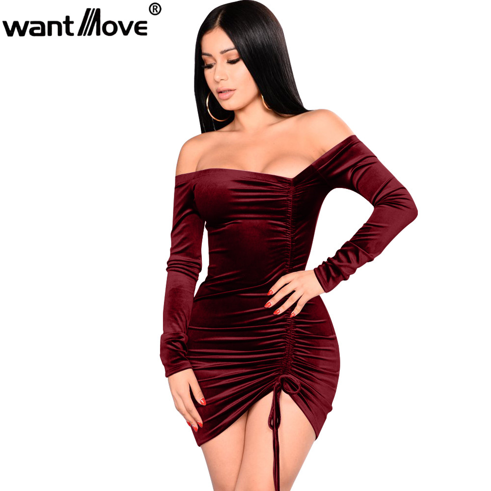Wantmove 2018 <font><b>women</b></font> velvet <font><b>sexy</b></font> party <font><b>plus</b></font> <font><b>size</b></font> asymmetrical ruching off shoulder <font><b>dress</b></font> sheath mini <font><b>women</b></font> clothing <font><b>dresses</b></font> JZ184 image