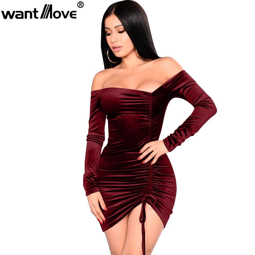Wantmove 2018 women velvet sexy party plus size asymmetrical ruching off shoulde