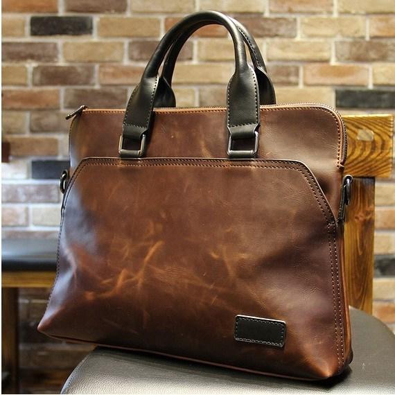 Hot sale!! business bag crazy horse pu leather laptop briefcase ...