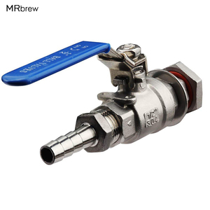 """Image 1 - 1/2"""" Stainless Steel Weldless Compact Ball Valve & Hose Barb Homebrew Beer Kettle Pot"""