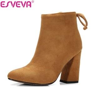 Image 1 - ESVEVA 2020 נשים מגפי פלוק קרסול מגפי בוהן עגול חורף נעלי כיכר עקבים גבירותיי מערבי מסיבת זמש סתיו מגפי גודל 34 43