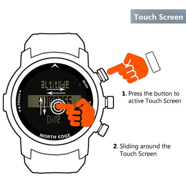 2019 New Men Diving Watch LED Digital Military Watch Waterproof 50M Dive Swimming Sport Watches Wristwatch Compass Altimeter 2